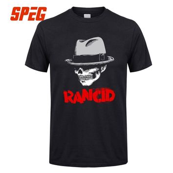 T Shirt Men Rancid And Out Come The Wolves Skull Halloween Male Crew Neck Short Sleeve T-Shirt Comfort Men's Tee