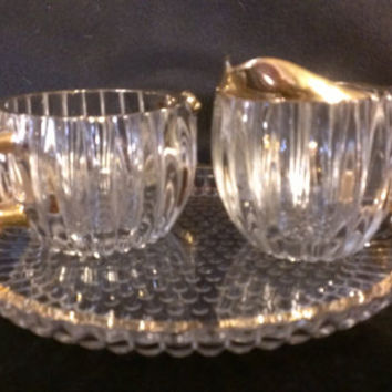 Jeanette Glass National Sugar, Creamer and Under-plate Crystal with Gold Trim (1012)