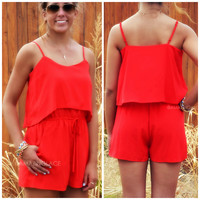 Playing Hooky Red Romper