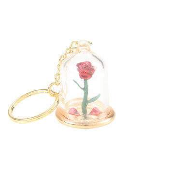 Disney Beauty And The Beast Enchanted Rose Key Chain