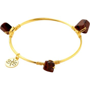 Crystal Wire Bangle Brown Stones