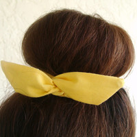 "Wire Bun Wrap, Top Knot Wire Wrap Solid Color Yellow ""Mini"" Dolly Bow Wire Headband Ponytail Hair tie Hair Bun Tie Wrap"