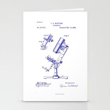 Microscope Vintage Technical Patent Drawing Stationery Cards by Oona Lee Vintage