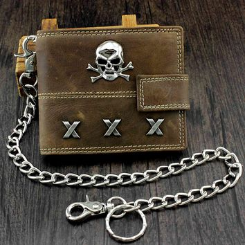 Skull Biker Span Leather Wallet With Coins Purse and Safe chain