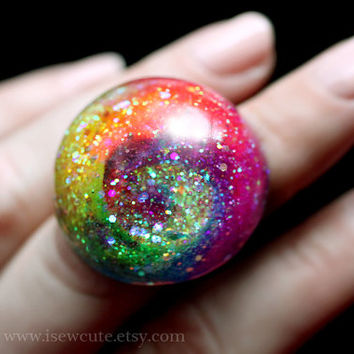 Resin Jewelry, Rainbow Glitter Ring - Colorful Cyclone, large sparkly cocktail ring intense color, handcrafted resin by isewcute