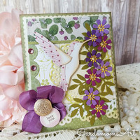 Love You Handmade Card, Shabby Chic, Hummingbird Card, Floral CARD, Cutomize, thank you, for you, best wishes Pretty Card, Cute card Card