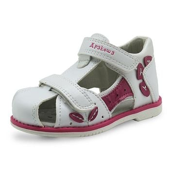 Girls Sandals Pu Leather Toddler Kids Shoes for Girls Orthopedic Closed Toe Baby Flat Shoes