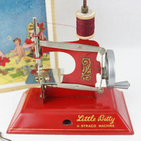 Vintage 1949 Little Betty Sewing Machine IOB, Toy Sewing Machine