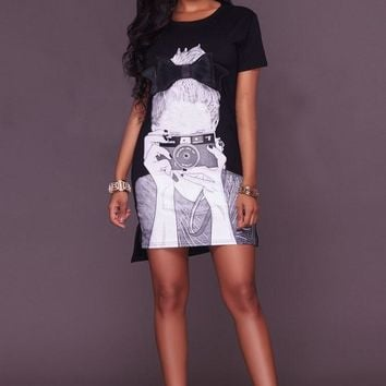 Girl Print Short Sleeve Low High Short Dress