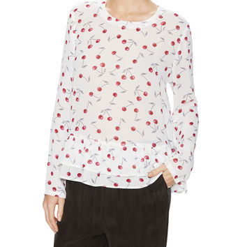Lindy Cherry Chiffon Top with Ruffled Trim