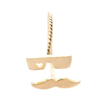 Handcrafted Brushed Metal Geek Glasses and Mustache Ring