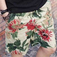 Free Shipping Summer Cotton linen Fast Drying Men's Beach Pants Five Cents Big Casual L-3XL 8158R1