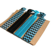 Elastic Hair Ties Teal and Black Chevron Yoga Hair Bands