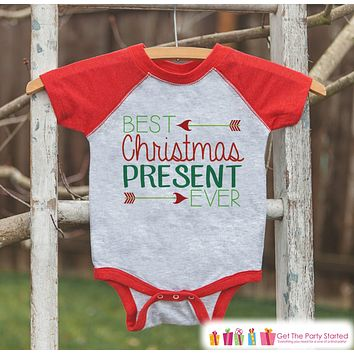 Kids Christmas Outfit - Best Present Ever Christmas Shirt or Onepiece - Holiday Outfit - Boy Girl - Kids, Baby, Toddler, Youth