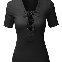 LE3NO Womens Ribbed Lace Up Front Short Sleeve Top