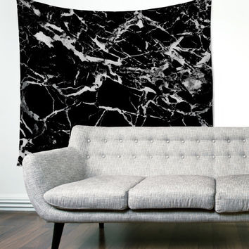 Black Marble Stone Modern Map Unique Dorm Home Decor Wall Art Tapestry