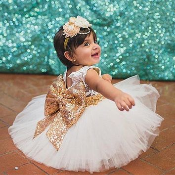 0-2 y New Fashion Sequin Flower Girl Dress Party Birthday wedding princess Toddler baby Girls Clothes Children Kids Girl Dresses