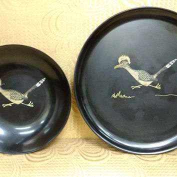 Vintage Couroc Serving Platter Tray & Bowl with Wood inlay & More 2 Piece