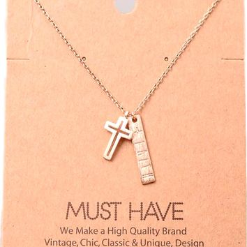 Must Have-Faith Inscribed Bar Necklace, Rose Gold