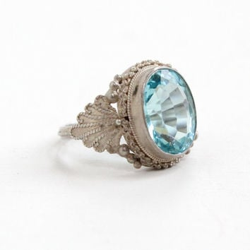 Vintage 800 Silver Simulated Aquamarine Ring - Retro Mid Century 1950s 1960s Faceted Blue Glass Jewelry
