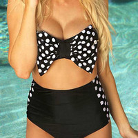 Polka Dot Bow Detail High-Waist Bikini