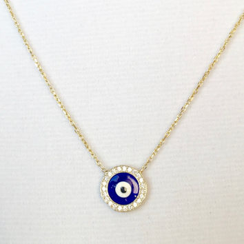 Evil Eye Necklace, Round Enamel and CZ Evil Eye Necklace, Sterling Silver Evil Eye Necklace, Turkish Jewelry
