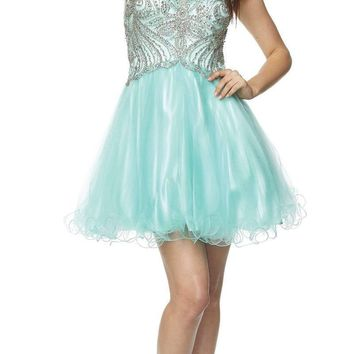 Juliet 784 V-Neck Short Homecoming Dress Embellished Bodice Jade