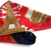 Vintage Paris Souvenir Scarf . Paris, France .  Square Red Blue and Gold Scarf .