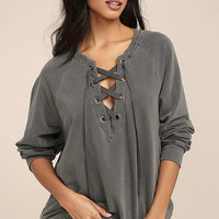 Project Social T Slave to Love Charcoal Grey Lace-Up Sweater