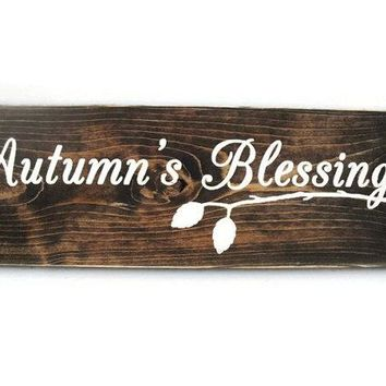 Thanksgiving Autumn Fall Rustic Wood Sign - Autumn's Blessings (#1204)