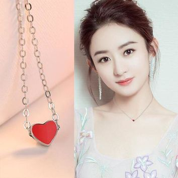 LMFON New Arrival Gift Jewelry Shiny Korean 925 Silver Pendant Heart-shaped Stylish Necklace [11618158548]