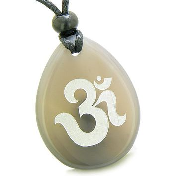 Amulet Ancient OM Tibetan Symbol Magic and Spiritual Powers Agate Wish Totem Pendant Necklace