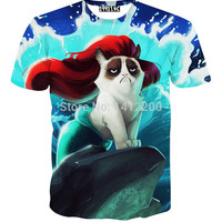Grumpy Cat Ariel The Little Mermaid t-shirt print sweat women&male funny cartoon animal 3D t shirt top dropshipping 5617