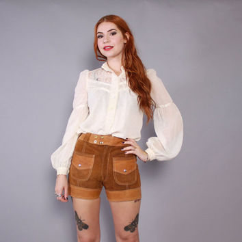 60s LEATHER HOT PANTS / Vintage 1960s 2-Tone Suede High Waist Hippie Shorts xs