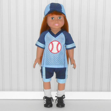 American Girl or Boy Doll Clothes Blue and Navy Baseball Uniform with Hat and Knee Pads and Optional Cleats fits 18 inch dolls