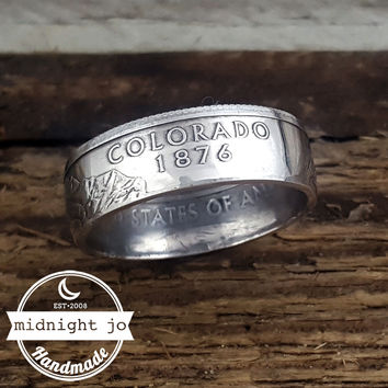 Colorado 90% Silver State Quarter Coin Ring