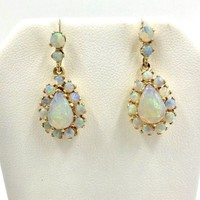 Vintage 14K Gold Opal Dangle Pierced Earrings 5.00 cts