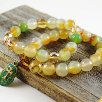 Agate stretch bracelet, Gemstone bracelet stretch, bead bracelet stretch, Patina cross, cross stretch bracelet, stackable bracelet