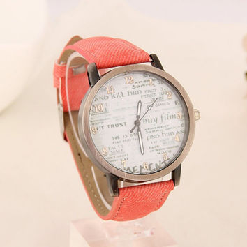 Lovely Cartoon Wristwatch  Leather Band Watch