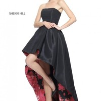 Sherri Hill 51160 Floral Lined High Low Prom Dress