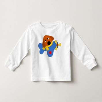 Cute Dog And Toy Plane Toddler T-shirt