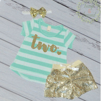 Second Birthday Outfit Girl Gold Glitter Two Year Old Girl Second Birthday T-Shirt Shorts Headband 102