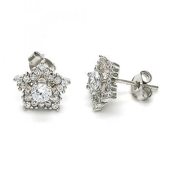 Sterling Silver 02.285.0032 Stud Earring, Star Design, with White Cubic Zirconia, Polished Finish, Rhodium Tone