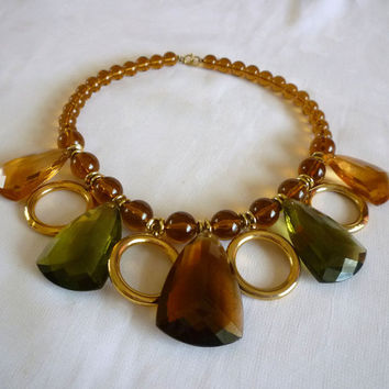 Amber Teardrop Necklace, 1970s Lucite Amber Green Choker Necklace, Vintage Lucite Jewelry
