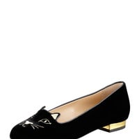 Kitty Cat-Face Velvet Skimmer - Charlotte Olympia