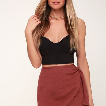 Louella Washed Burgundy Wrap Skirt