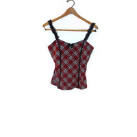 Large Red Black White Plaid Sexy Pin Up Rockabilly Camisole