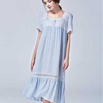 Free Shipping New Summer Women's Long Blue Pyjamas Lace Sleepwear Lady Princess Nightgown Royal Nightshirt