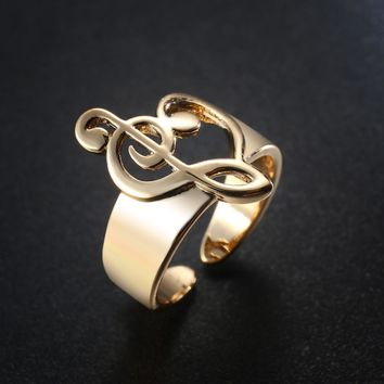 Gold Colored Hollow Heart Shaped Musical Note Open Ring Adjustable For Women