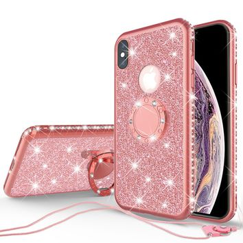 Glitter Cute Phone Case Girls Kickstand Compatible for Apple iPhone XS Max Case,Bling Diamond Bumper Ring Stand Soft Sparkly iPhone XS Max - Rose Gold